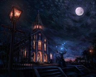 Обои на телефон судьба, темные, рисунки, огни, ночь, луна, картина, звезды, замок, zero