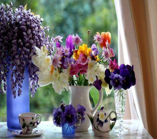 Обои на телефон окно, цветы, цветочные, сцена, приятные, ваза, floral window