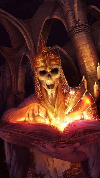Обои на телефон книга, череп, свеча, магия, король