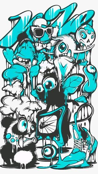 Обои на телефон граффити, шаблон, узоры, синие, небо, дизайн, sky-blue, raj primium, raj, primium
