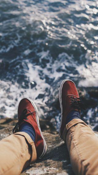 Обои на телефон отпуск, обувь, море, волны, feet
