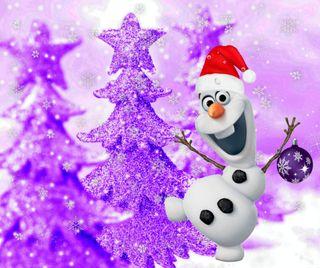 Обои на телефон холодное, фиолетовые, счастливое, снеговик, рождество, олаф, дерево, purple tree