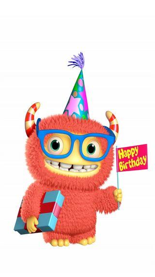 Обои на телефон день рождения, фан, счастливые, празднование, поговорка, милые, monster, happy, 3д, 3d