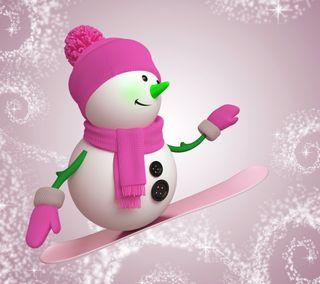 Обои на телефон счастливые, снеговик, снег, рождество, розовые, каникулы