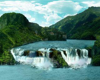 Обои на телефон водопад, река, природа, пейзаж, озеро, облака, лес, горы