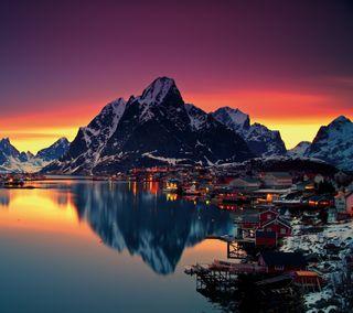 Обои на телефон норвегия, горы, море