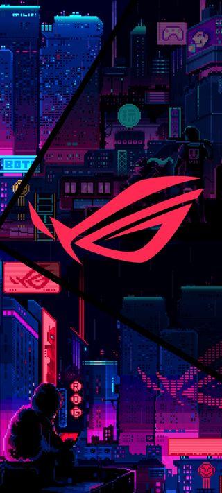 Обои на телефон ночь, неоновые, логотипы, красые, город, асус, rog red neon, rog, asus