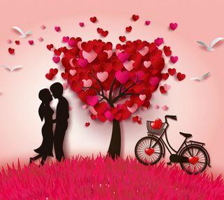 Обои на телефон сердце, пара, дерево, любовь, векторные, валентинки, байк, абстрактные, love