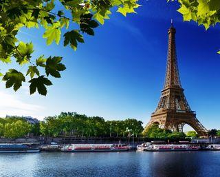 Обои на телефон эйфелева башня, париж, озеро, листья, башня