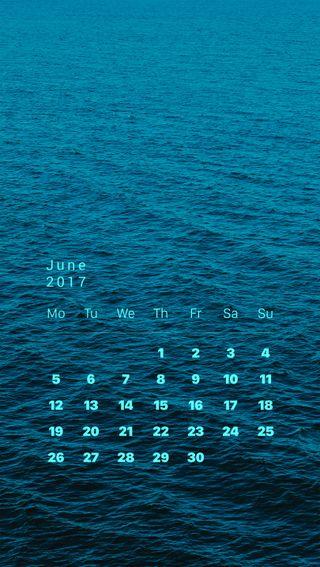 Обои на телефон экран блокировки, синие, море, календарь, волны, sea calendar, june