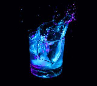 Обои на телефон чашка, цветные, синие, неоновые, лед, абстрактные, cup, colored ice cup 2 s5