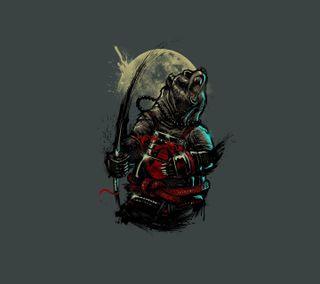 Обои на телефон самурай, луна, medved, mech