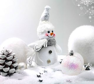 Обои на телефон украшение, счастливое, снеговик, рождество, белые, white christmas