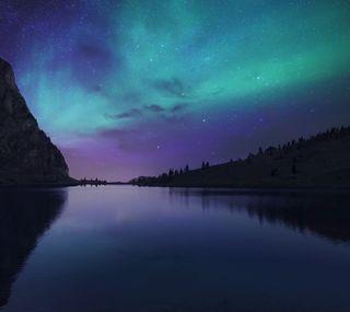 Обои на телефон сияние, ночь, небо, аврора