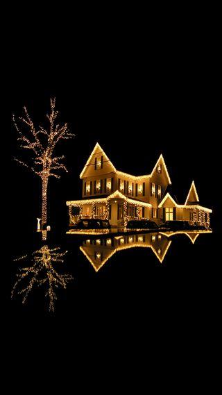 Обои на телефон рождество, дом, lighted house