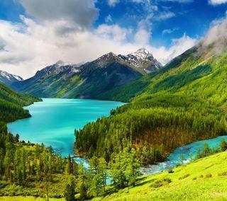 Обои на телефон река, природа, пейзаж, небо, деревья, горы, вода