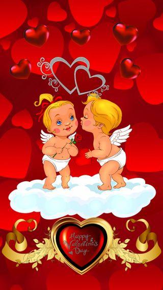 Обои на телефон поцелуй, сердце, любовь, день, ангел, love, 720x1280px