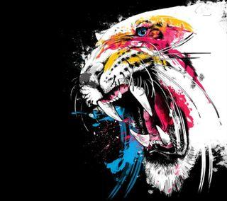 Обои на телефон тигр, красочные, tiger colorfull, ghaef, dzzf