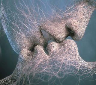 Обои на телефон целоваться, креативные, самсунг, галактика, samsung galaxy s4, creative kissing, 2160x1920