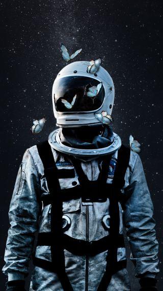 Обои на телефон космонавт, шлем, космос