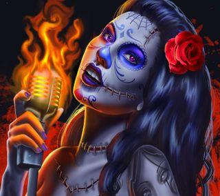 Обои на телефон тату, розы, огонь, зомби, девушки, арт, microphone, art