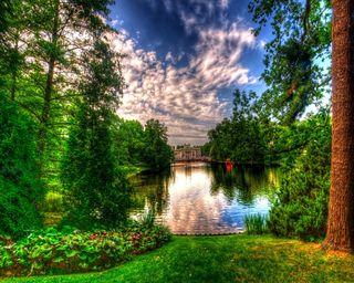 Обои на телефон природа, озеро, деревья, hdr nature