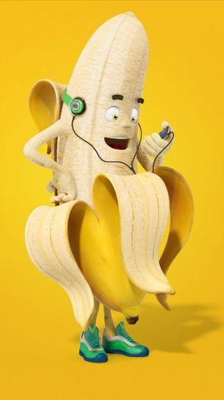Обои на телефон наушники, юмор, фрукты, музыка, любовь, забавные, желтые, еда, банан, listening, i love music