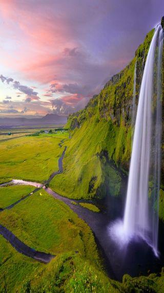Обои на телефон водопад, фото, пейзаж, вода