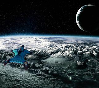 Обои на телефон полет, мир, луна, летать, over