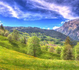 Обои на телефон холм, пейзаж, горы, hdr scenery