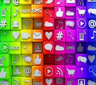 Обои на телефон социальное, кубы, красочные, nets, media, 3д, 3d