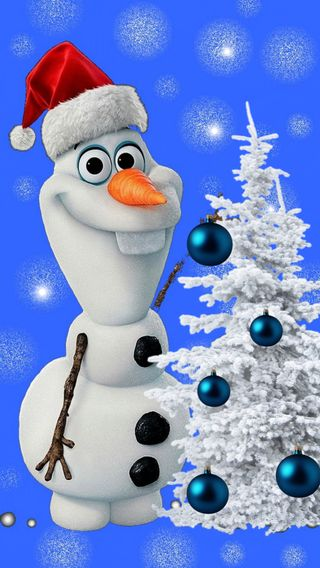 Обои на телефон холодное, счастливое, рождество, олаф, зима, дерево