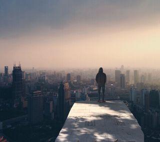 Обои на телефон одинокий, город, вид, lonelyman, city view