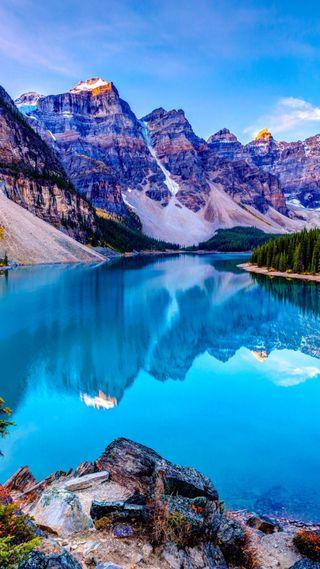 Обои на телефон озеро, природа, облака, небо, горы, вид, spectacular view