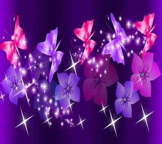 Обои на телефон коллаж, цветы, цветочные, фиолетовые, розовые, дизайн, бабочки, purple pink collage