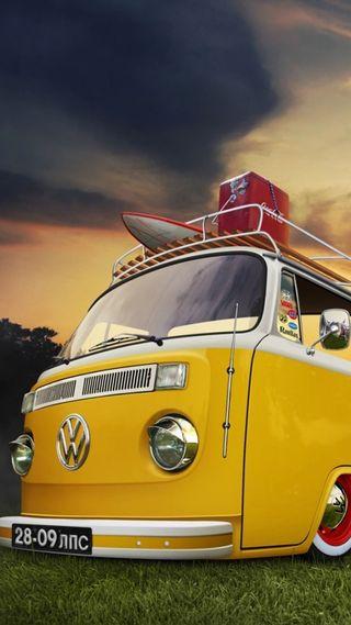 Обои на телефон фургон, фольксваген, отпуск, германия, небо, машины, желтые, автомобили, авто, vw