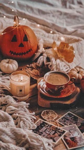 Обои на телефон свечи, хэллоуин, тыква, осень, кофе, comfort