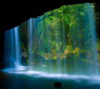 Обои на телефон водопад, природа, прекрасные, зеленые, вид