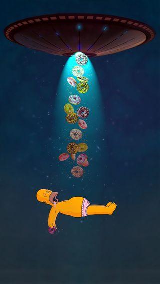 Обои на телефон симпсоны, космос, гомер, donuts