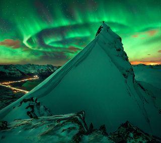 Обои на телефон лед, снег, небо, зима, горы, аврора, summit, peak
