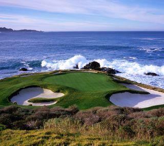 Обои на телефон гольф, спортивные, отверстие, океан, волна, golf course