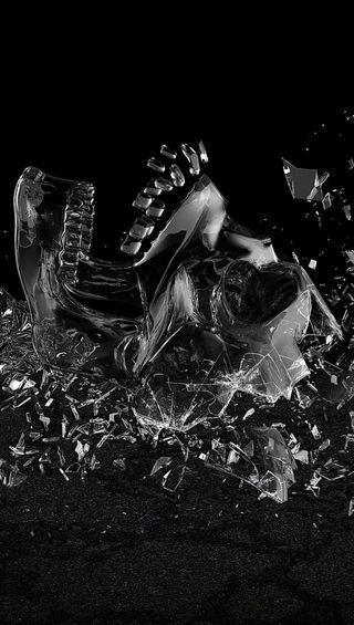 Обои на телефон череп, стекло, сломанный, broken glass skull