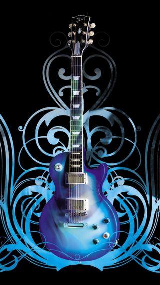 Обои на телефон гитара, синие, wallpapper, blue guitar