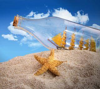 Обои на телефон бутылка, стекло, пляж, песок, морская звезда, лодки, корабли, ship in a bottle