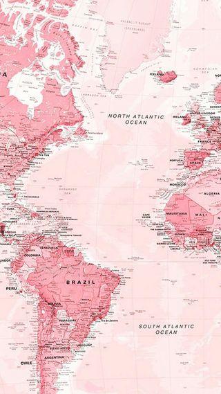Обои на телефон карта, эстетические, розовые, океаны, мир, красочные, world map