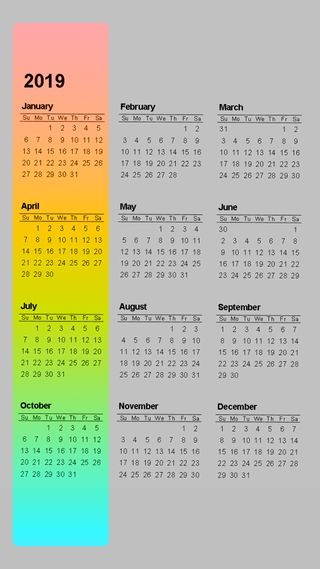 Обои на телефон лгбт, календарь, календари, дни, weeks, months, 4k, 2019 calendar v7, 2019, 19