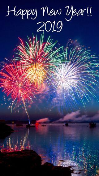 Обои на телефон фейерверк, счастливые, празднование, новый, вода, newyearoverwater, fireworks over water, 2019