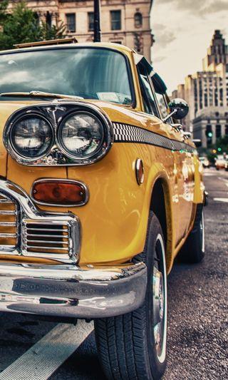 Обои на телефон ретро, улица, машины, желтые, город, винтаж, vehichle