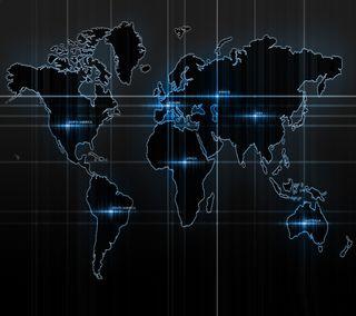 Обои на телефон карта, черные, цифровое, темные, синие, свет, приятные, мир, крутые, дизайн