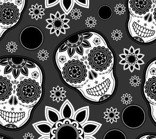 Обои на телефон череп, черные, цветы, векторные, белые, абстрактные